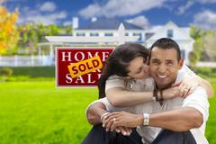 Hispanic Couple, New Home and Sold Real Estate Sign - stock illustration