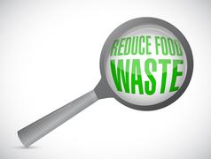 Stock Illustration of reduce food waste magnify glass sign concept