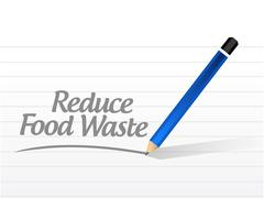 Stock Illustration of reduce food waste message sign concept