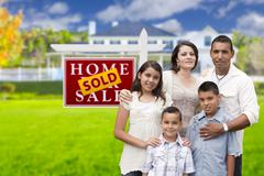 Hispanic Family in Front of Sold Real Estate Sign, House - stock illustration
