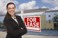 Woman In Front of Commercial Building and For Lease Sign - stock illustration