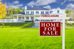 Foreclosure Home For Sale Sign in Front of Large House Stock Illustration