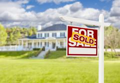 Sold Home For Sale Real Estate Sign in Front of Beautiful New House. Stock Illustration