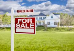 Foreclosure Home For Sale Sign in Front of Large House - stock illustration