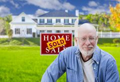Senior Adult Man in Front of Real Estate Sign, House Stock Illustration