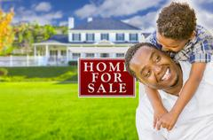 Father and Son In Front of Sale Sign and House - stock illustration