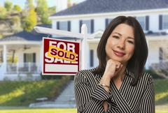 Hispanic Woman in Front of Sold Sign and House - stock illustration