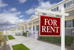 Red For Rent Real Estate Sign in Front of Beautiful House. - stock illustration