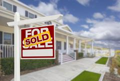 Sold Home For Sale Real Estate Sign and Beautiful New House. Stock Illustration