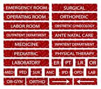 Set of Hospital Sign and Medical Abbreviations Stock Illustration