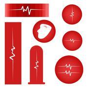 Set of Cardiogram on Red Banner Stock Illustration