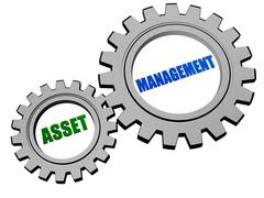 asset management in silver grey gears - stock illustration