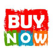 Buy now drawn label Stock Illustration