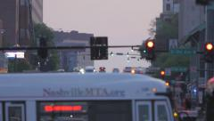 Nashville Broadway Telephoto Heat Wave Cinematic Dusk Traffic Stock Footage