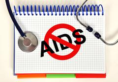 book with stop aids symbol - stock illustration