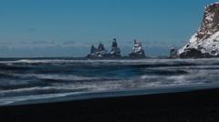 4K Time lapse Reynisdrangar cliffs tide - stock footage