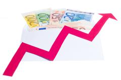 Stock Photo of Value of euro increasing