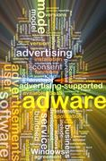 adware wordcloud concept illustration glowing - stock illustration