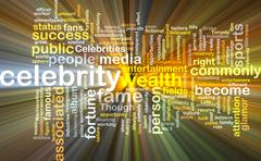 celebrity wordcloud concept illustration glowing - stock illustration