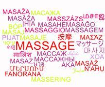 Stock Illustration of Massage multilanguage wordcloud background concept