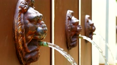 Fountain lionhead (4K) Stock Footage