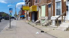 West Baltimore neighborhood impacted by the riots  Stock Footage