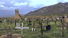 Primitive Cemetery Pueblo Native American Burial Site. - stock footage