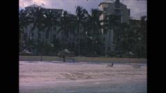 Vintage 16mm film, beach front Sheraton, 1963 Stock Footage