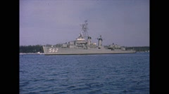 Vintage 16mm film, USS Robinson anchored in Bahamas, 1963 Stock Footage