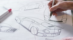 4K Hands drawing creative automotive design drawings - stock footage