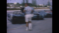 Vintage 16mm film, lemans start, drivers in cars, the race starts, 1963 Stock Footage
