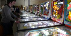 Stock Video Footage of Men Playing Retro Classic Pinball in Arcade 4k Stock Video