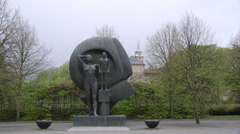 Monument in front of Akershus Fortress Oslo Stock Footage