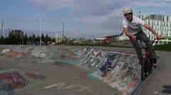 Extreme Sport Lifestyle Shot - Slow Motion Bike Rider in Skatepark Stock Footage