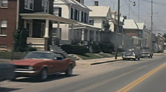 USA 1972: driving in a small town - stock footage