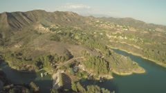 Aerial Shot of Hollywoodland and Lake Hollywood - stock footage