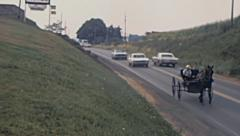 USA 1972: amish carriage in the street - stock footage