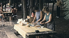 USA 1972: picnic outdoor Stock Footage