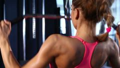 Workout with machine at the gym Stock Footage