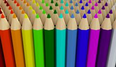 Several rows of colored pencils isolated on white background - stock illustration