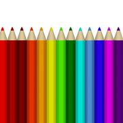 A number of colored pencils on white background Stock Illustration