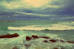 Sea stormy landscape - vintage retro style Kuvituskuvat