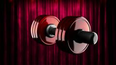 Loop rotate dumbbell at curtain stage Stock Footage