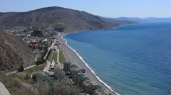 CRIMEA. APRIL 2011:The Crimean costline of the Black sea, small settlement and Stock Footage