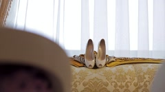 Wedding shoes bride. Wedding details. Stock Footage