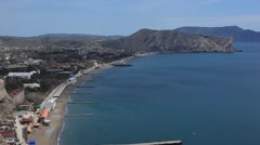CRIMEA. APRIL 2011: Sudak town coastline Stock Footage