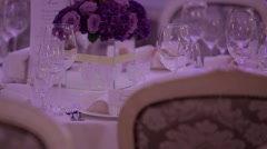 Exquisite wedding table setting. Wedding day. Stock Footage