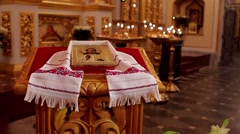 Beautiful icon in embroidered towels. Ukrainian style. Stock Footage