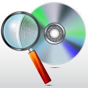 CD or DVD disc and magnifying glass, concept , storages and readings of the d Piirros
