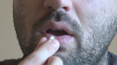 Close up man face, opening mouth for chewing gum, mint taste, refreshing breathe Stock Footage